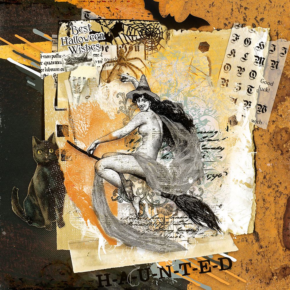 Layout inspiration for the craftyARTSnippets Halloween by Marianne