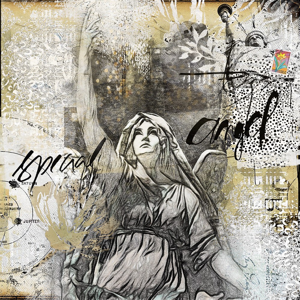 Layout inspiration for the NBK DesignTechnique Challenge 14 Oct -27 Oct about using gesso in your layout by Marianne
